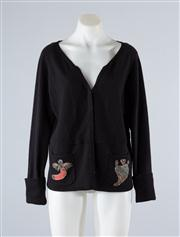 Sale 8685F - Lot 41 - A Kenzo black cashmere cardigan with applique to pockets approx size S-M