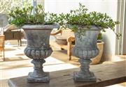 Sale 8745A - Lot 73 - A Pair Of Cast Stone Garden Urns With Gardenia Plants, Some Edge Chips / Losses, 45 cm Tall