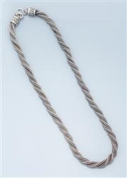 Sale 9037F - Lot 71 - AN INDIAN SILVER NECK CHAIN, 6mm wide plaited foxtail chain to S hook clasp, length 48cm, wt. 68.37g.