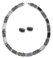 Sale 9037 - Lot 389 - A SILVER ONYX AND MARCASTITE COLLAR WITH MATCHED EARRINGS; deco style with alternating marcasite set key pattern and onyx set plaque...