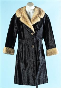 Sale 9090F - Lot 111 - A BLACK COW HIDE COAT WITH MINK COLLAR AND CUFFS; presenting two buttons and side pockets, soze 8-10