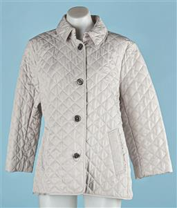 Sale 9091F - Lot 214 - A LADIES BURBERRY BRIT BUTTON UP PEA COAT, in light grey with side pockets and silvered buttons, (size XL)