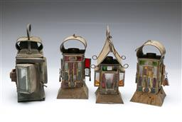 Sale 9098 - Lot 8 - Set of four metal and coloured glass lanterns (tallest H23cm)
