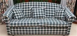 Sale 9155H - Lot 107 - A checkered sofa bed with three matching throw cushions. Height of back 85cm x Width 200cm x Depth 86cm
