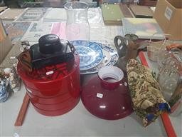 Sale 9152 - Lot 2309 - Sundries incl. Biscuit Holder, Canon Camera, Lotto Game, 2 Shades, Brass Jug, etc