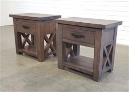 Sale 9166 - Lot 1007A - Pair of timber single drawer bedsides (h60 x w66 x d40cm)
