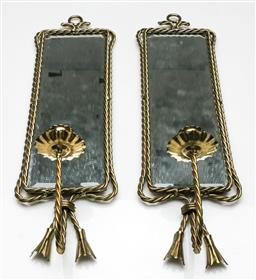 Sale 9209 - Lot 59 - A pair of marine rope effect mirrors with candlesticks to base (H:43.5m)