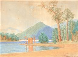 Sale 9216A - Lot 5071 - GLADSTONE EYRE (1863 - 1933) Camp by a River watercolour (AF) 42 x 57.5 cm (frame: 76 x 90 x 4 cm) signed lower right