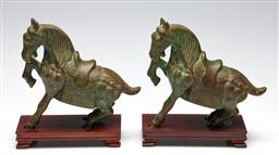 Sale 9253 - Lot 2 - A pair of Chinese bronze rearing horses (H:23.5cm - on stands)