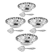 Sale 8000 - Lot 37 - A cased set of four small silver dishes with pierced floral scrollwork, C.S.G & Co., Birmingham, date 1907/8. Length: 10.5cm. Retail...