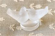 Sale 8250 - Lot 39 - A Frosted Lalique Paperweight , modelled as twin kissing doves