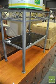 Sale 8331 - Lot 1389 - Pair of Glass Top Side Tables