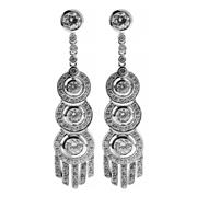 Sale 8400 - Lot 371 - A PAIR OF DECO STYLE STONE SET EARRINGS; set in silver with CZs to stud fittings.
