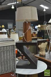 Sale 8406 - Lot 1116 - Timber Base Table Lamp on Z Form Timber Side Table (2)
