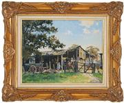 Sale 8443 - Lot 561 - William Bustard (1894 - 1973) - Farmyard 39.5 x 49.5cm