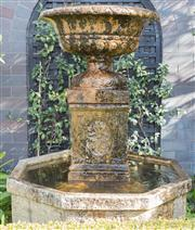 Sale 8575H - Lot 4 - A stone water feature and bird bath in classical form, including 4 feet and water pump