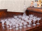 Sale 8649A - Lot 10 - A collection of cut-glass wares including a Bramor decanter, nine Stuart Crystal champagne coups plus another, ten sherry glasses an...