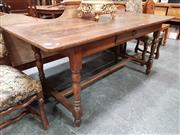 Sale 8848 - Lot 1023 - French Oak Refectory Style Dining Table, with single drawer on turned legs & stretcher base
