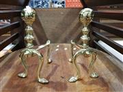Sale 8889 - Lot 1020 - Pair of Small Brass Fire Dogs