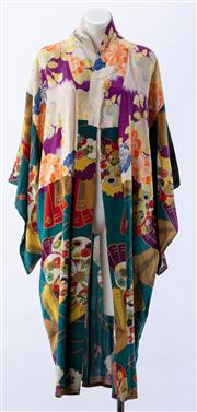 Sale 8910F - Lot 87 - A vintage silk kimono with floral and fan patterned material