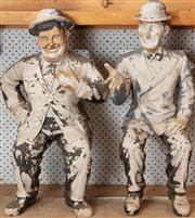 Sale 8984H - Lot 392 - A pair of early composite statues of Laurel and Hardy. Height 69cm