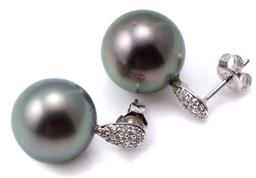 Sale 9124 - Lot 488 - A PAIR OF TAHITIAN PEARL AND DIAMOND EARRINGS; each a 12mm round cultured pearl of good lustre and silver colour to a 9ct white gold...