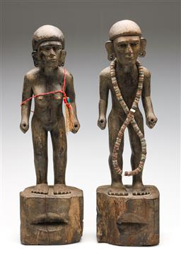 Sale 9253 - Lot 226 - A pair of male and female cultural wood carved figures - both missing what was in hands (H:53cm)