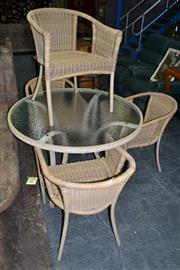 Sale 8013 - Lot 1179 - Wicker Five Piece Outdoor Suite Incl Glass Top Table With Four Chairs