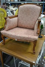 Sale 8050B - Lot 26 - French style carved beech armchair upholstered in red paisley fabric