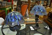 Sale 8129 - Lot 1032 - Pair Of Leadlight Shade Table Lamps