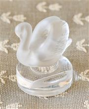 Sale 8250 - Lot 40 - A Frosted Lalique Place Card Holder, modelled as single swan