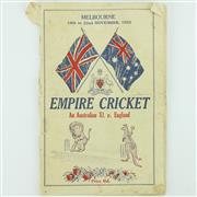 Sale 8264 - Lot 23 - Empire Cricket 1932 Melbourne Bodyline Programme