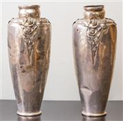 Sale 8279A - Lot 4 - A pair of Art Nouveau style silver plated baluster vases, with rose applied decoration, based stamped Kayser, H 47cm, A/F