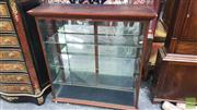 Sale 8375 - Lot 1003 - Vintage Glass & Mirrored Collectors Cabinet, with three glass shelves and brass handles to back