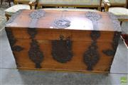 Sale 8500 - Lot 1036 - 18th Century German or Dutch Oak Domed Top Chest, with pierced iron strap work & lock plates , with partial date 17?6 (missing lock,...