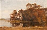 Sale 8652A - Lot 5097 - Dirk Gerard Ezerman (1848 - 1913) - River Scene 32.5 x 48.5cm