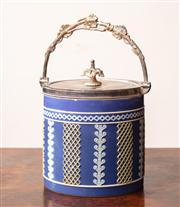 Sale 8804A - Lot 60 - A C19th Wedgwood jasperware tri colour biscuit barrel with silver plated mount and later date code, Height 16.5cm