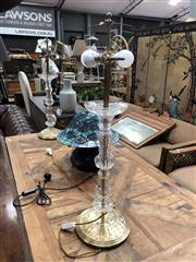 Sale 8854 - Lot 1027 - Pair of Tall Vintage Glass Table Lamps