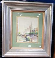 Sale 9019 - Lot 2002 - Mansell Metropolitan Scene, 1945 watercolour, frame: 55 x50 cm, signed and dated lower left