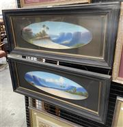 Sale 9050 - Lot 2005 - Pair of Early Mountain Scene Paintings signed Hayden, oils on academic board (damages to 1) each 30 x 67cm (frames)