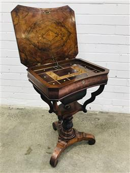 Sale 9097 - Lot 1094 - Good Late Biedermeier Figured Walnut Sewing Table, with hinged lid revealing a fitted interior, the suspended basket within a shaped...