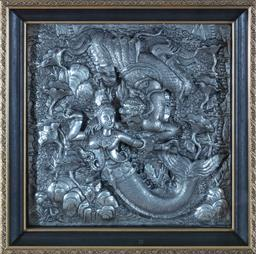 Sale 9155H - Lot 106 - A box framed Balinese metal plaque depicting Immortals under water. Frame size 60.5cm x 60.5cm