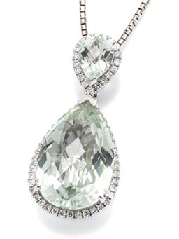 Sale 9253J - Lot 405 - A WHITE GOLD GREEN AMETHYST AND DIAMOND ENHANCER PENDANT NECKLACE; double pear shape cluster drop in 18ct white gold with 2 pear sha...