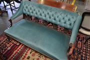 Sale 8093 - Lot 1746 - Late Victorian Parlour Settee in Blue Buttoned Velvet Upholstery