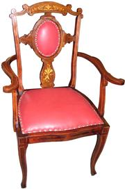 Sale 8258A - Lot 62 - Red leather upholstered Sheraton style Edwardian occasional carver chair with stringing and marquetry inlay, RRP $985