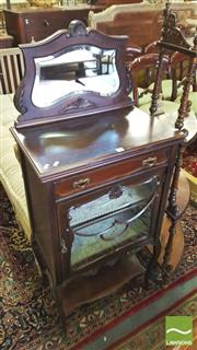 Sale 8402 - Lot 1100 - Late Victorian Mahogany Display Cabinet with Low Mirrored Back, Drawer and Lower Shelf