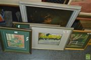 Sale 8425T - Lot 2036 - Group of (6) Works by Various Unknown Artists Including: Photograph, Watercolour Street Scenes, Various Prints & Pastel Tree, framed...
