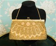 Sale 8448A - Lot 56 - Stunning 1950s vintage gold framed beaded clutch bag beautifully hand beaded in a lovely Art Deco style pattern and floral motifs,...