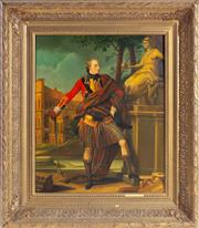 Sale 8518A - Lot 91 - An oil on board portrait of a Georgian Scottish soldier in an heroic pose mounted in a stepped antique gilt frame. H: 60cm x W: 49cm