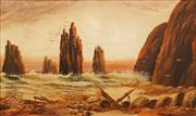Sale 8755A - Lot 5091 - Charles Frederick Gerrard (1849 - 1904) - Shipwreck near Port Campbell, VIC, 1888 29 x 45cm